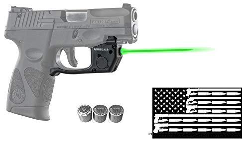 Deluxe Green Laser Combo for Taurus PT111 / PT140 Millennium G2 / G2S / G2C / G3 / G3c w/ Touch-Activated ArmaLaser TR23 Green Laser, Guns & Ammo Flag Bumper Sticker & 2 Extra Batteries