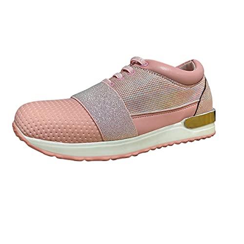 URIBAKY - Zapatillas de running para mujer, con cordones brillantes, para correr, fitness, transpirables, Rosa (rosa), 42 EU