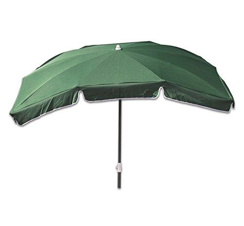 Profiline Aluminium Gartenschirm 210 x 140 cm, mit UV-Schutz 30 Plus, Knicker, höhenverstellbar, Farbe grün, 450385