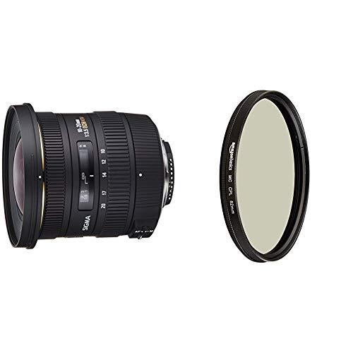 Sigma 10-20 mm F3,5 EX DC HSM-Objektiv (82 mm Filtergewinde, für Nikon Objektivbajonett) & AmazonBasics Zirkularer Polarisationsfilter - 82mm