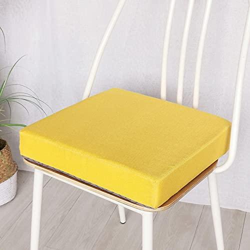 jHuanic Cojín de asiento de silla para el hogar, jardín, 45 x 45 cm, 50 x 50 cm, cojines antideslizantes para asientos de interior y exterior (45 x 45 x 3 cm), color amarillo