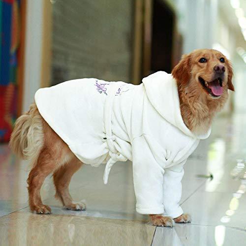IUOU AlbornozBordado para Perroscon Capucha, Pijama Suave de Lujo para Perros, Toalla de baño para Perros súper Absorbente y de Secado rápido, Ropa deDormir para Mascotas