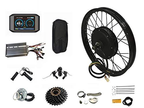 NBPOWER Kit de conversión de bicicleta eléctrica TFT de 72 V y 3 kW para rueda trasera de 72 V 3000 W para bicicleta eléctrica (16 pulgadas)