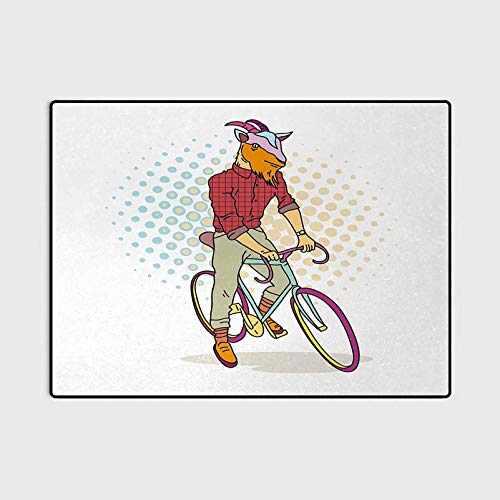 Retro Camping Rug Outdoors Rugs Hipster Goat on Bicycle Fashion Model Horns Hooves Teenager Boy Colorful Artwork Floor mat for Office Chair Carpet Multicolor 4 x 5.3 Ft