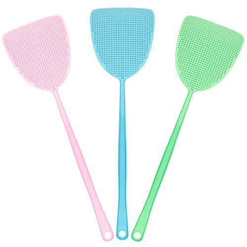 TYPHEERX Fliegenklatsche, 3 Stück Kunststoff Fliegenklatsche Insektenwespen für Fliegen, Grün, Rosa und Blau