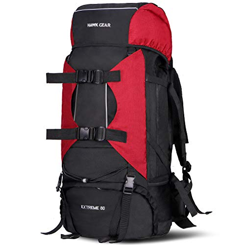 HAWK GEAR Internal Frame Backpack Large Capacity with Rain Cover High-Performance, Waterproof (80L-Bosch Red)