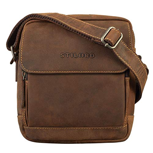 STILORD 'Jordan' Kleine Messenger Tasche Leder Vintage Umhängetasche Ledertasche für 8 Zoll Tablet Cross Body Bag Echtes Leder, Farbe:Sierra - braun