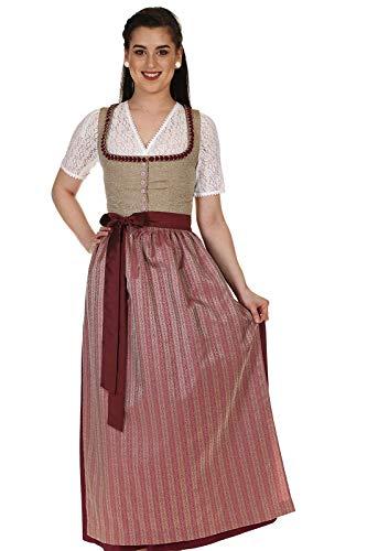 Königssee Tracht Damen Dirndl festlich Kleid Tracht lang mit Muschelrüsche D821043Ri Bärbel Muschel Taupe Gr.46