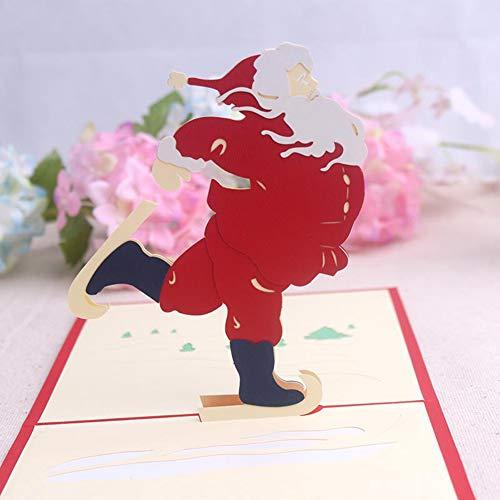 Steellwingsf Creative Lovely Santa Claus 3D Pop-Up-Papier, Weihnachts-Grußkarte für Weihnachten, Festival, Geschenk, Papier, Multi, Einheitsgröße
