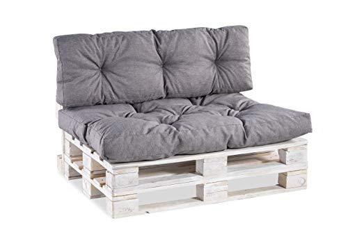Palettenkissen Palettenauflagen Sitzkissen Rückenlehne Gesteppt PPI (Rückenlehne 120x40 Gesteppt, Grau)