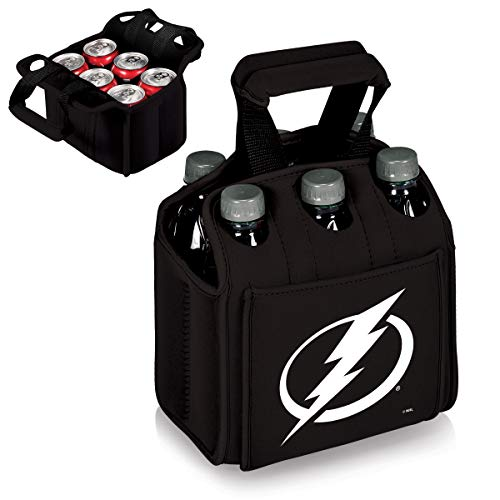 PICNIC TIME NHL Tampa Bay Lightning Six Pack Insulated Neoprene Beverage Tote, Black