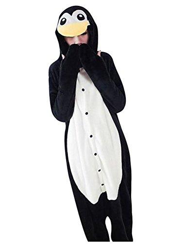 Unisexo Comodidad Suave Franela Disfrace Animales Kigurumi Traje de Dormir Cosplay Ropa de Salón Pijamas Adulto Animal para Niños Niñas Anime Fiesta - M - Pinguino