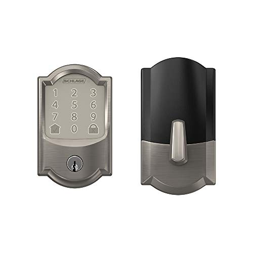 Schlage Encode Smart WiFi Deadbolt with Camelot Trim In Satin Nickel