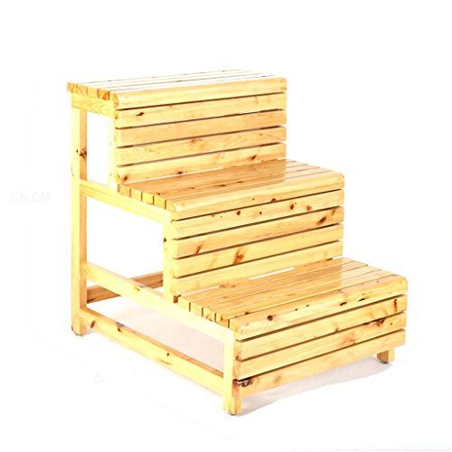 Drie-staps Houten Ladder, Veiligheid Versterking Ladder Kruk Eenvoudige Familie Thee Tafel Tuinbank/Bruin, Natuurlijke/Laden Capaciteit: 150 Kg NATUURLIJK