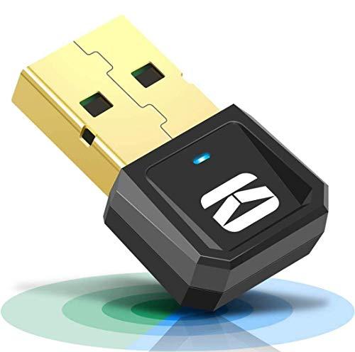 KOWLONE Adaptador Bluetooth para PC,USB 5.0 Bluetooth Transmisor y Receptor para Altavoces/Auriculares/Teclados/Ratónes/Gamepad/Impresora Compatible con Windows 10/8.1/8/7/XP/Vista Plug and Play