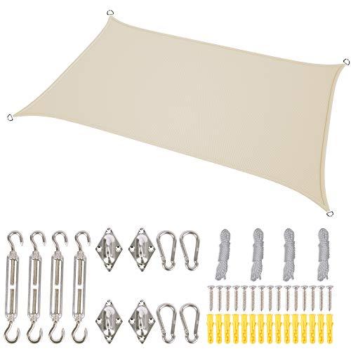 Wayrank Vela de Sombra Rectangular 2 x 3m, Toldo Vela Impermeable con Kit de Montaje para Patio, Exteriores, Jardín,