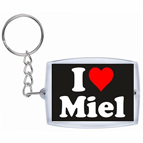 Druckerlebnis24 Schlüsselanhänger I Love Miel in Schwarz - Exclusiver Geschenktipp zu Weihnachten Jahrestag Geburtstag Lieblingsmensch