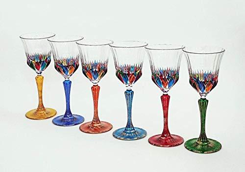 Set von 6 Weinglas Adagio cl. 22 multicolour von Hand bemalt Glas, Murano Venedig Stil