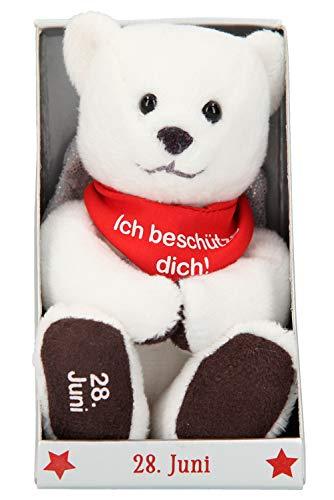 Depesche 8139.180 - Schutzengel Bär aus Plüsch, ca. 9 cm, mit Datum 28. Juni, Geschenk für Geburtstag, Jahrestag oder Hochzeitstag