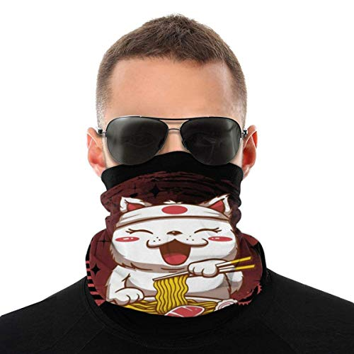 Chibi Neko Ramen Variedad Pañuelo para la cabeza, máscara para la cabeza, polaina para el cuello, bandana para la cabeza, bufanda para mujer