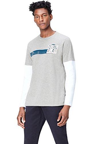 Marca Amazon - find. Camiseta de Manga Larga con Estampado para Hombre, Gris (Grey Marl 002), L, Label: L