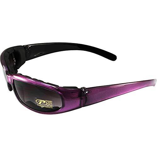 Pacific Coast Chix Rally Grey Gradient/Purple Padded Motorcycle Glasses