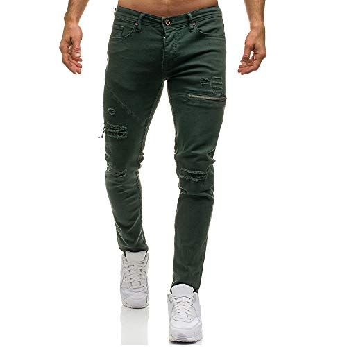 Men Skinny Jeans Ripped Vintage Slim Fit Stretch Destroyed Pants with Broken Holes (M, Green)