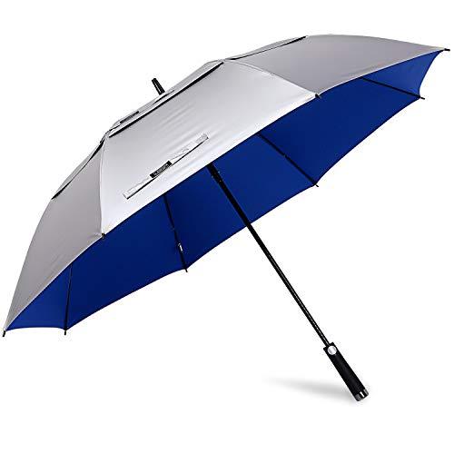 G4Free 62/68 Inch UV-Schutz Winddicht Sonnen- und Regenschirm Golfschirm Autorisches Öffnen Doppelbaldachin Belüftet Übergröße für Herren und Damen