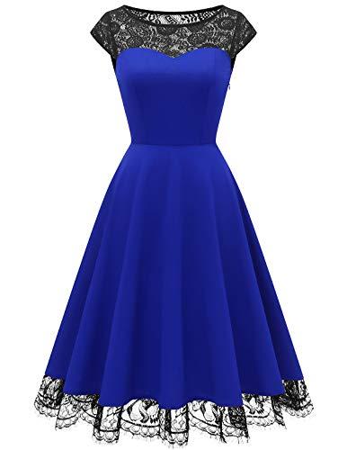 HomRain 50er Jahre Vintage Rockabilly Swing Kleid Damen Spitze Cocktailkleid Ballkleid Party Kleid Royal Blue M