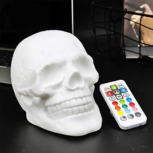 BeesClover USB-Ladegerät, bunte LED-Totenkopf-Patting-Lampe mit Fernbedienung, Nachtlicht, Dekoration, Geschenk