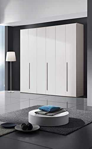 InHouse srls Armadio in Legno, 6 Ante, Color Bianco Frassinato, Mis. H 245 x L 244,2 x P 53,3