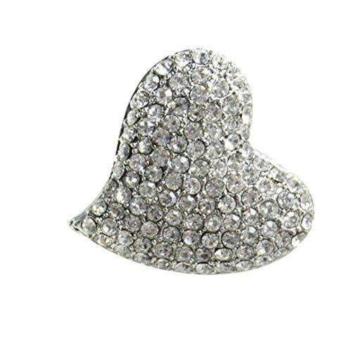 Genérico Broche de Corazón de Diamantes de Imitación Broche de Ramillete de Diamante Regalo de Joyería del Día de San Valentín para Las Mujeres Y Las Niñas Blanco