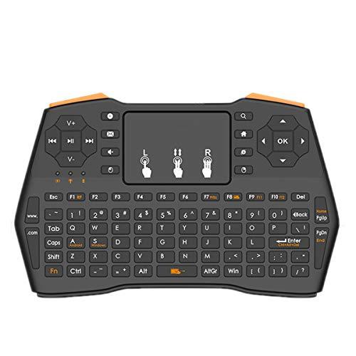 LJ2 2.4G Mini Teclado inalámbrico, ratón con el Teclado del Touchpad 3 Teclado retroiluminado portátil inalámbrico con Control Remoto/para el Ordenador portátil/PC/Notebook/Windows/Mac/TV