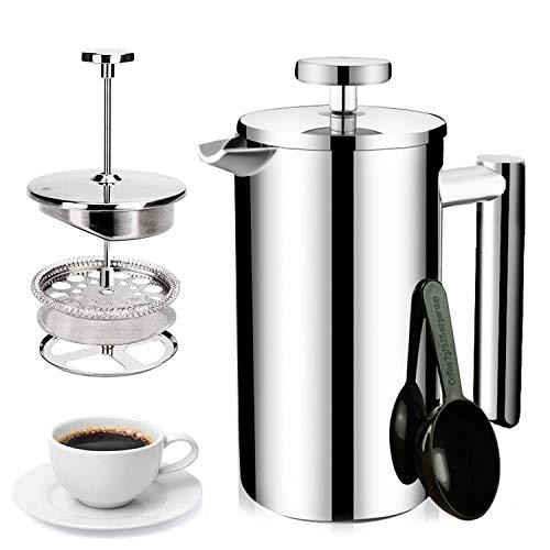 LAZAJ Cafetera De Acero Inoxidable, Cafetera Moka Para Cocinas Inducción, Vitrocerámica Y De Gas - Estilo Espresso – Irrompible, Segura Y Apta Para Lavavajillas,1000ML