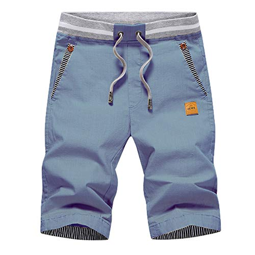 JustSun Mens Shorts Casual Classic Fit Cotton Summer Beach Shorts with Elastic Waist and Pockets Denim Blue Large