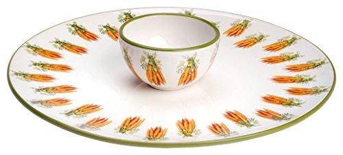 Boston International BIP15039 Eddie and Carrots Ceramic Crudite Server and Bowl Set, Orange