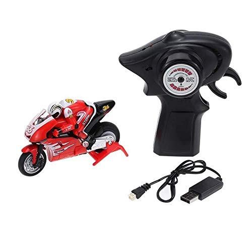 DJXWZX Alta velocidad de deriva coche de la motocicleta y niño adulto Regalo de cumpleaños 1:20 Mini RC eléctrico robusta motocicleta (Color: Rojo) Moto campo a través 2,4 GHz de control remoto de rec