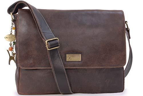 Catwalk Collection Handbags - Vera Pelle - Grande Borsa a Tracolla Borse a Mano Messenger da Donna - Per PC Laptop Portatile Tablet - Sabine L - MARRONE