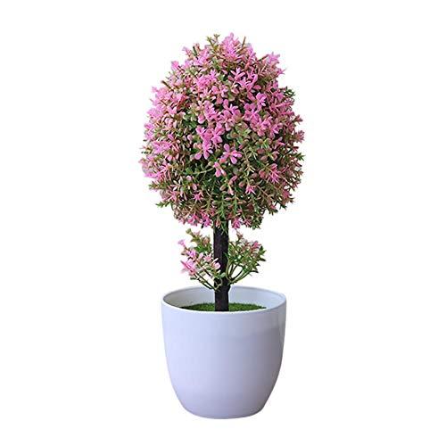 Noete Simulación de Flores Artificiales bonsái Laurel para Interior de Color Verde perenne pequeño árbol en Maceta Flores Artificiales de Pino en Maceta Plantas Falsas para jardín Oficina 27*12cm