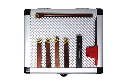 PAULIMOT Drehmeißel-Set mit Wendeplatten, 8 mm, inkl. Bohrstange Ø 6 mm