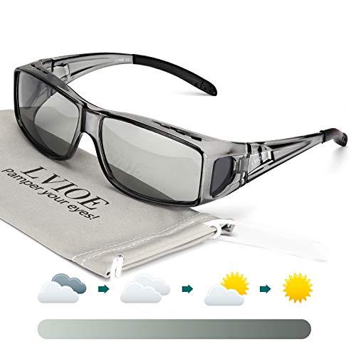 LVIOE Unisex Photochromes Polarisiert Sonnenbrille Brille Überbrille für Brillenträger, Fit-over Polbrille für Herren und Damen 100% UVA UVB Schutz (Grau/Photochromatisch Grau)