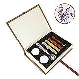 Mogoko Sigillo + 3*Ceralacca + Cera + Cera Stick Spoon Francobolli Vintage Kit per Lettera Personalizzata Timbri Personali IL MIGLIORE REGALO SET-Rosmarino