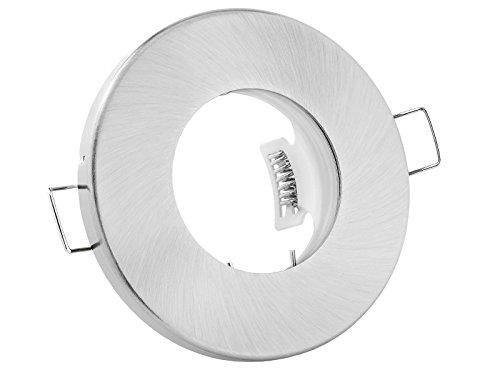linovum Feuchtraum Einbaustrahler Rahmen flach IP65 für Bad, Dusche mit Wasserschutz - Gebürstet rund inkl. GU10 Fassung