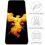 LEVEIS Yoga Mat Fire Phoenix Spreading Wings Thick Non Slip Exercise Workout Mats for Home Gym Floor Travel