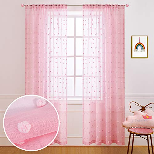 Pink Curtains 96 Inches Long for Canopy Bed Set of 2 Panels Rod Pocket Sheer Pom Pom Textured Fluffy Curtains for Backdrop Girls Gift Kids Bedroom Feminine Decor 52x96 Inch Length