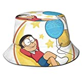 Doraemon Nobita Bucket Sun Hat para Hombres Mujeres -Protection Packable Summer Fisherman Cap for Fishing, Safari, Beach Boating Black