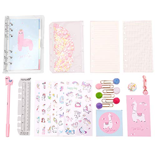NOL Llama Stationery Set Llama Notebook Sequin Pencil Case Gifts Llama Pens,Ruler,Unicorn Sticker,Bookmarks, Hand Book, Ornament for Girls Kids Birthday Gift 20Pcs