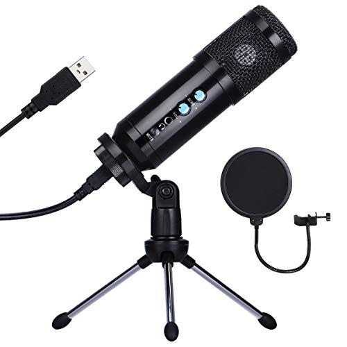 Microfono a Condensatore, Microfono a USB Kit 192kHZ 24bit Microfono di Registrazione con Treppiedi Regolabile & Filtro Anti-Vento Supporto per Streaming, Registrazione, Podcasting, YouTube (Nero)