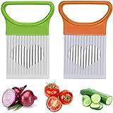 2 PCS Onion Holder Slicer, Stainless Steel Assistant Slicer Holder Cutter Food Slicer, Vegetable Holder Rack Slicer Cutter, Tomato Slicer Meat Slicer Kitchen Gadgets Utensil for Kitchen Safety Cooking