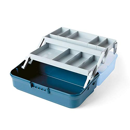 Lineaeffe Valigetta Pesca 2 Vassoi 2 Etages Boîte de Pêche Msllette Rangement Accessoire Leurre Hameçon Tackle Box Plastique